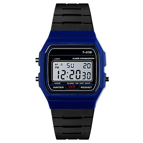 Dressin Digital Sports Watch Water Resistant Outdoor Electronic Ultra Thin Waterproof LED Military Back Light Black Men