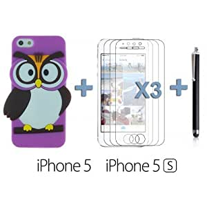 OnlineBestDigital - Owl Style Slim Soft Silicone Case for Apple iPhone 5S / Apple iPhone 5 - Purple with 3 Screen Protectors and Stylus