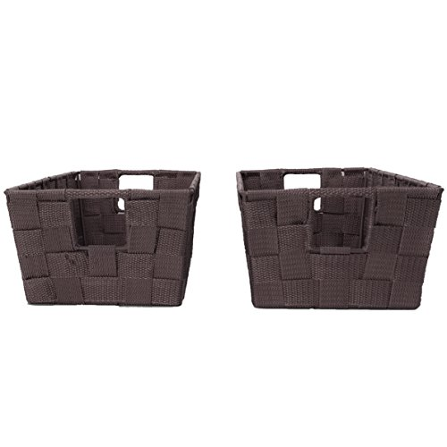 Set of 2 Woven Baskets for Storage - Fabric Strap Shelf Bin for Closets, Bedroom, Playroom (12 x 6.5 x 4.5, Espresso)