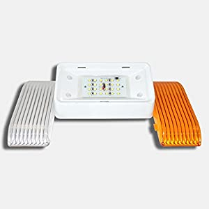 LED RV Exterior Porch Utility Light - 12v 280 Lumen Lighting Fixture. Replacement Lighting for RVs, Trailers, Campers, 5th Wheels. White Base, Clear and Amber Lenses Included