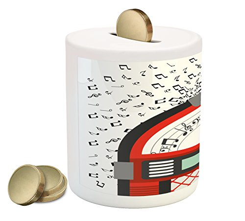 Ambesonne Jukebox Piggy Bank, Cartoon Party Music Antique Old Vintage Retro Box with Notes Artwork, Printed Ceramic Coin Bank Money Box for Cash Saving, Red Black Grey and White