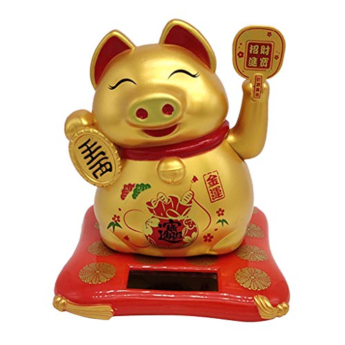 SM SunniMix Solar Powered Lucky Pig with Beckoning Arm Collectible Figurines Home Desktop ()