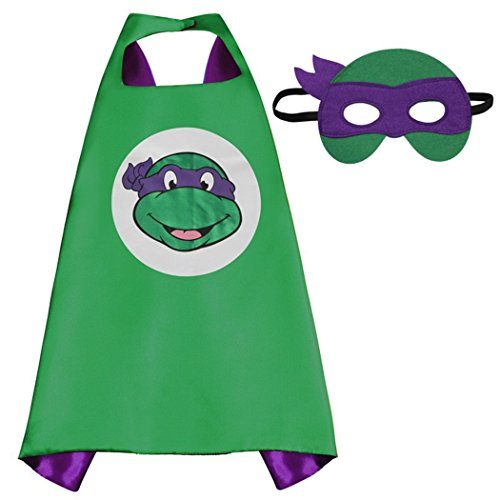 Teenage Mutant Ninja Turtles Donatello Superhero Costumes Satin Cape with Felt Mask for Kids