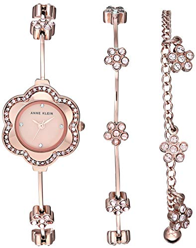 (Anne Klein Women's AK/3182RGST Multi-Colored Swarovski Crystal Accented Rose Gold-Tone Watch and Bracelet Set)
