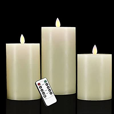 smtyle Flameless Candles with Remote and Moving Wick with Timer Battery Operated Flickering LED Pillar Candle