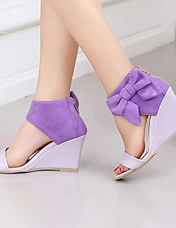 ShangYi Women's Shoes Heel Flip Flops Sandals / Heels Outdoor / Dress / Casual Blue / Purple / Gold , purple-us7.5 / eu38 / uk5.5 / cn38 , purple-us7.5 / eu38 / uk5.5 / cn38