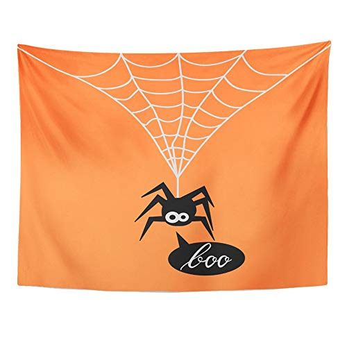 Emvency Tapestry Artwork Wall Hanging Animal Cute Spider on Orange of for The Halloween Party Say Boo Arachnid Black 60x80 Inches Tapestries Mattress Tablecloth Curtain Home Decor Print