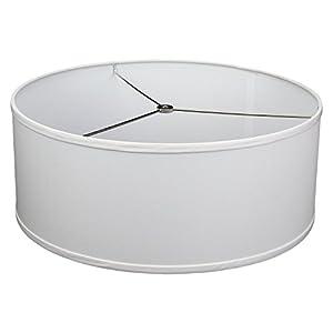 "FenchelShades.com 18"" Top Diameter x 18"" Bottom Diameter 7"" Height Cylinder Drum Lampshade USA Made (White)"