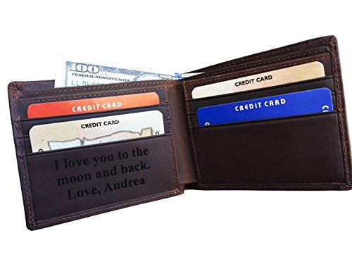 RFID Blocking Personalized Genuine Leather Men's Bifold Wallet Monogrammed with Custom Message Inside, Gifts for Boyfriend Husband Dads Anniversary Christmas - Custom Gifts Message