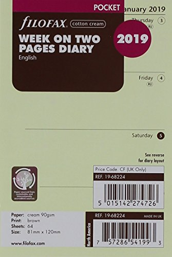 Filofax 2019 Pocket Week to View Refill, Cream Paper, Jan 2019- Dec 2019, 4.75 x 3.25 inches (C68224-19)