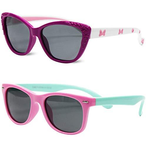Kids Polarized Cat Eye Aviator Sunglasses for Girls Boys Children Pack of 2 by MOTOEYE