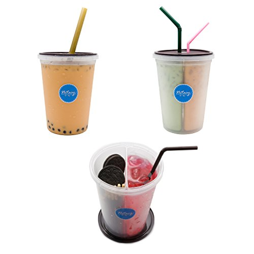 Nitacy 2 In 1 Dual Drink Cup Reusable Plastic Cups with Flat Lids, 30 Oz (15 Oz Per Side), Pack of 2