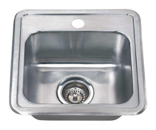 Wells Sinkware CMT1515-6-1 22 gauge Single Bowl Top-Mount Kitchen Sink Package, Stainless Steel ()