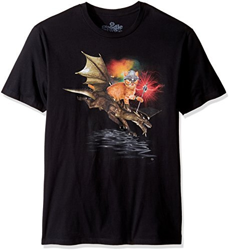 T-shirts Two Goodie Sleeves (Goodie Two Sleeves Men's Humor Dragon Rider of Purr Adult T-Shirt, Black 2XL)