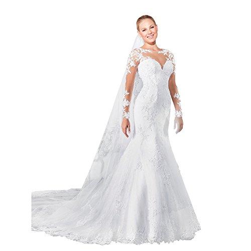 JoyVany 2016 Long Sleeve Mermaid Wedding Dress Sexy Back Lace Wedding Gowns White Size 2