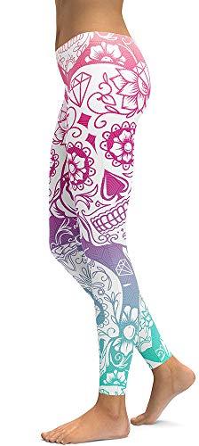 Jescakoo Leggings for Women Skull Print Pants Halloween Costumes White]()