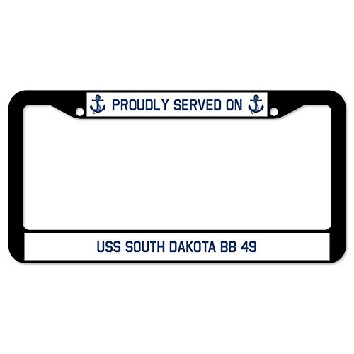 (AllCustom4U Proudly Served on USS South Dakota Bb 49 Black License Plate Frame, Stainless Steel Car Tag Frame, Military USS License Plate Cover Holder for US Standard, 2 Holes and Screws)