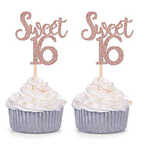 - Giuffi Rose Gold Glitter Sweet 16 Cupcake Toppers Sixteenth / 16th Birthday Party Decorations - Set of 24