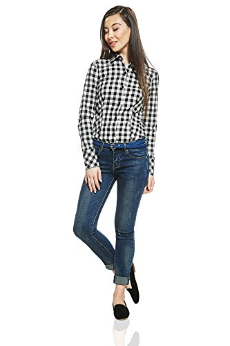 Ester Bodysuit Shirt Blouse Top Plaid Checkered Check Long Sleeve Button Up Women By Nothing But Love (0, black and white)