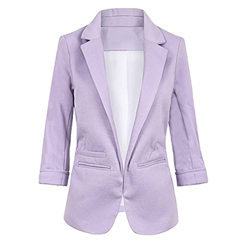 SEBOWEL Women's Fashion Cotton Rolled up 3/4 Sleeve Slim Office Blazer Jacket Suits Purple S