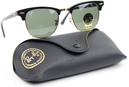 Ray-Ban RB3016 Clubmaster Classic Unisex Sunglasses (Black Frame / Green G-15 Lens W0365, - Ban Ray Sunglasses 3016
