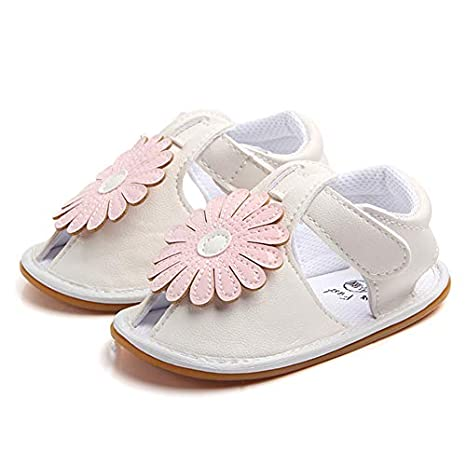Pink, 7-12months/_12cm 2019 New Arrival Baby Sandals PU Leather Flower Princess Shoes Summer Baby Girl Sandals Rubber Soles Cute Toddler Moccasins