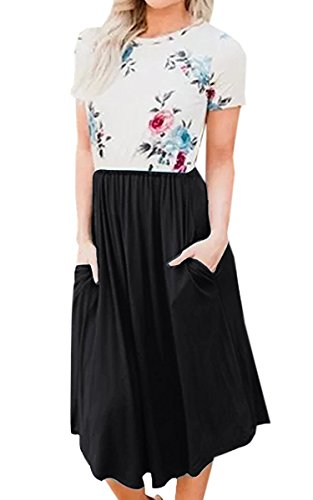Summer Dresses Floral Elastic with Sleeve Retro Pockets Vintage Midi Dress Waist ECOWISH Black Womens Short Y036 fEqxfS5