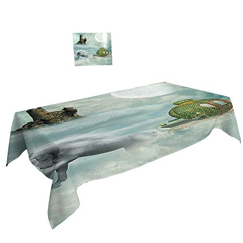 Rectangular Table Cloth for Foot Table in Washable Polyester W50 x L80 INCH,Marine Embellished Fish Icon in Vibrant Tones with Flowers Underwater Hand Drawn Image Multicolor. Suitable for all occas