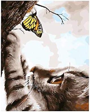 JSBFZQQ 数字DIY猫と蝶のフレームレスデジタル絵画の絵画 (Color : 2684, Size (Inch) : 40x50cm ready frame)