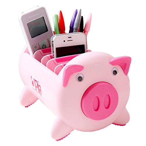 UQueen UQ6013 Creative Pigs Plastic Office Desktop Stationery Cell Phone Remote Control Storage Box Organizer (Pink) by UQueen