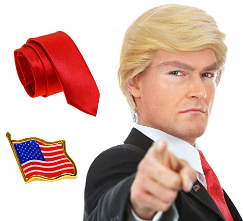 3pc Donald Trump Wig + President Flag Pin