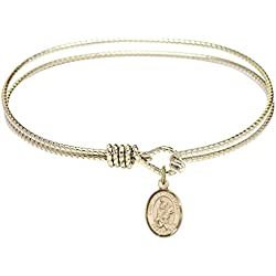 St. Martin of Tours-7 1/4 inch Oval Eye Hook Bangle Bracelet with a St. Martin of Tours charm.-Saint Martin of Tours is the patron saint of Reformed Alcoholics. Memorial Day November 11st.-Reformed Alcoholics