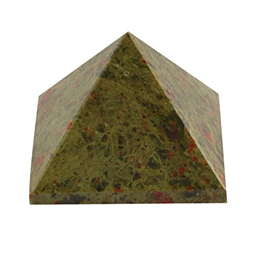 - Aatm Energy Generator Gemstone Unakite Pyramid for EMF Protection Chakra Healing Meditation (2.5 and 2.5 Inches) {Includes a Free Surprise Gift for Wellness}