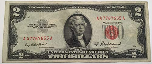1963 Note Red Series Seal - 1953 A Series Red Seal $2 Two Dollar US Note