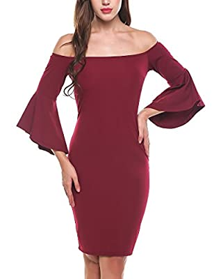 Meaneor Women's Ruffle Bell Sleeve Off The Shoulder Split Bodycon Midi Dress