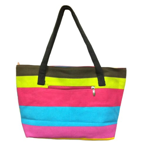 Zipper Canvas Tote Bag with Coin Pouch - Rainbow Pattern