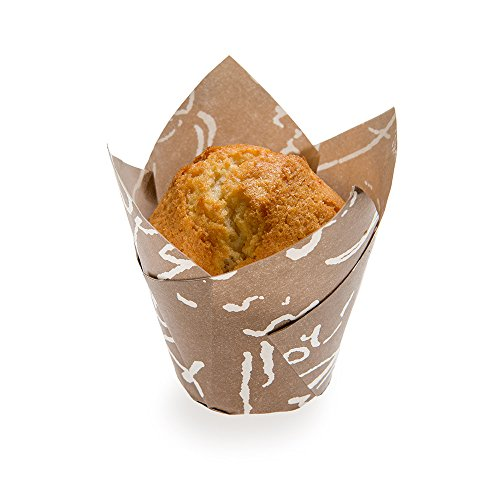 Panificio Premium 1.7-oz Baking Cups: Tall-Petal Paper Baking Cups Perfect for Muffins, Cupcakes or Mini Snacks - Brown Chocolate Wisp Print Design - Disposable and Recyclable - 200-CT