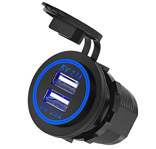 - Dual USB 4.2A Charger Socket 12V/24V Waterproof Power Outlet for Car Boat Marine Motorcycle (Blue LED)