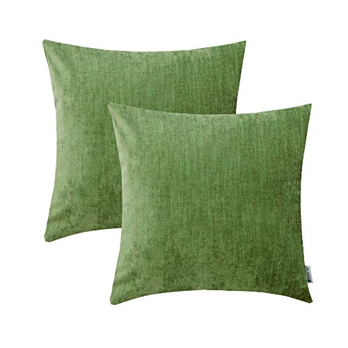 HWY 50 Cotton Linen Soft Comfortable Natural Soild Decorative Throw Pillow Covers Sets Cushion Case for Couch Sofa Bed Living Room Green 18 x 18 Inches Pack of 2