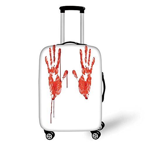 Travel Luggage Cover Suitcase Protector,Horror,Handprint like Wanting Help Halloween Horror Scary Spooky Flowing Blood Themed Print,Red White,for -