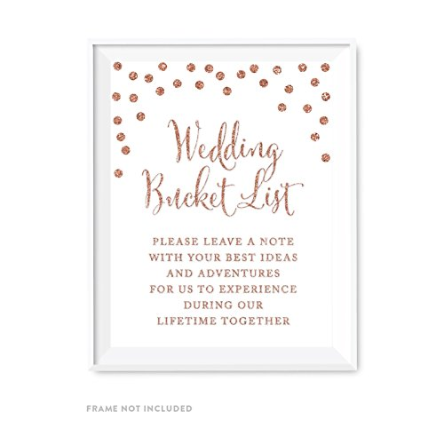 Andaz Press Wedding Party Signs, Rose Gold Faux Glitter, 8.5x11-inch, Wedding Bucket List, Leave a Note with Ideas and Adventures, 1-Pack, Champagne Copper Colored Party Supplies - Bucket Roses Champagne