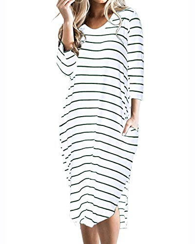 CNFIO Women T Shirt Dress Oversized Stripes 3/4 Short Sleeves Dresses with Pocket Green Small]()