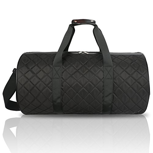 20 Inch Weekender - FITMYFAVO 20 inch Grid Black Sports Duffle | Gym Bag | Weekender | Made of Super Light Grid Pattern Padded Cotton | Perfect for Dance Class, Yoga, Overnight, Carry On & Short Trips