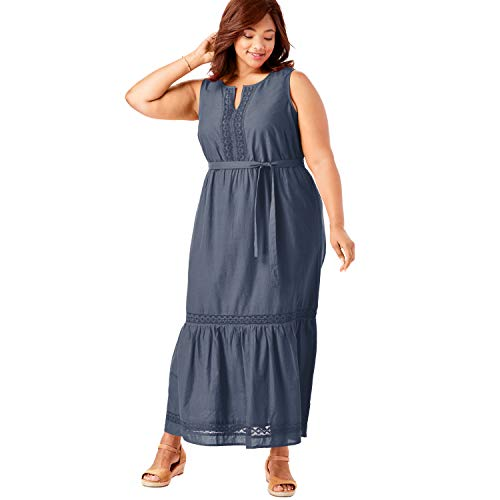 Woman Within Women's Plus Size Crochet Trim Tiered Sleeveless Maxi Dress - 14 W, Navy