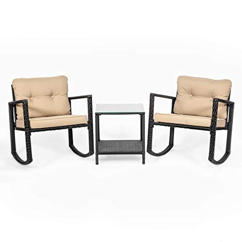 Barton 3pcs Rattan Bistro Rocker Glass Coffee Table