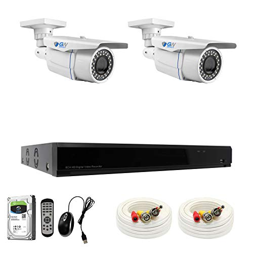 GW Security 8-Channel 4K H.265 Complete CCTV Security System with 2 x HD 8MP 2160P Outdoor Indoor 2.8-12mm Varifocal Zoom 4K Bullet Security Cameras and 1TB HDD, QR Code Scan Free Remote View