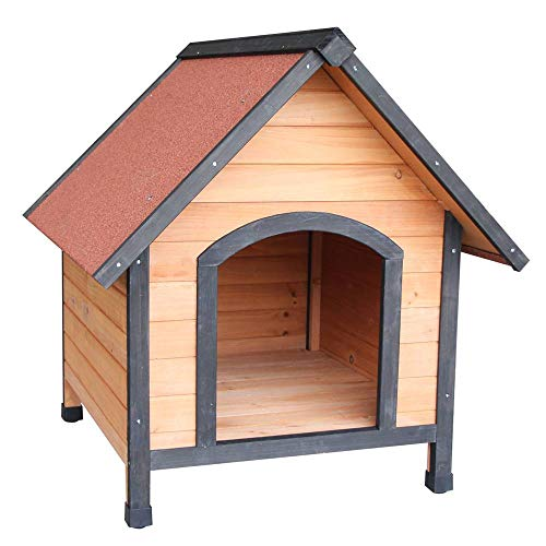 Binlin Pet Dog House, Wooden Dog Room Shelter, Raised Roof and Balcony Bed for Indoor and Outdoor Use, Wood Dog House