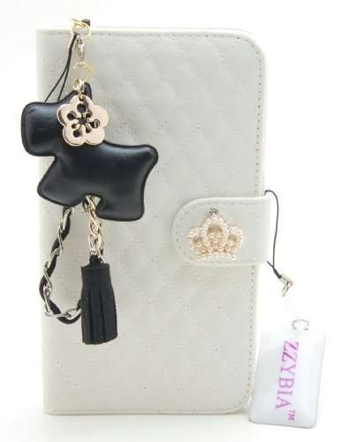 ZZYBIA® Galaxy Mega 6.3 QCD Off White Leatherette Stand Case Card Holder Wallet with a Black Dog Fringed Dust Plug Charm for Samsung Galaxy Mega 6.3 I9200 I9205 Ship From Hong Kong