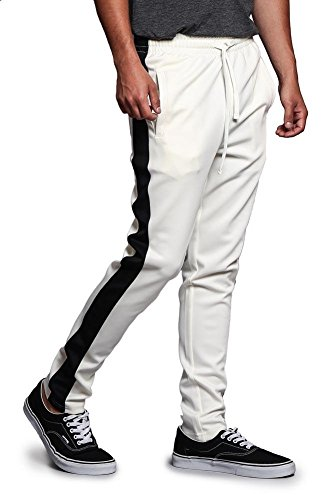 Image Lrg (G-Style USA Men's Regular Cuff Non-Ankle Zip Contrast Outer Side Stripe Slim Fit Stretch Drawstring Track Pants TR522 - Off-White/Black - Large - S1C)