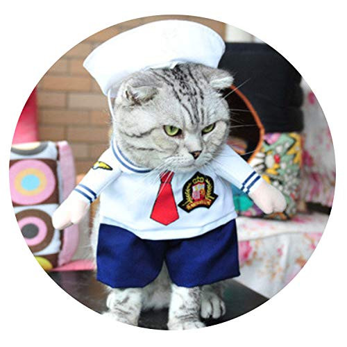 Funny Cat Clothing Pirate Costume Clothes for Cat Costume Corsair Clothing Dress Up Cat Party Costume,Cat Sailor Clothes,L -
